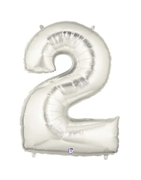 """40"""" Silver 2 Shape Number Balloon"""
