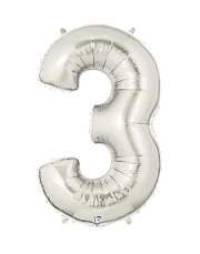 "40"" Silver 3 Shape Number Balloon"