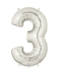 """40"""" Silver 3 Shape Number Balloon"""