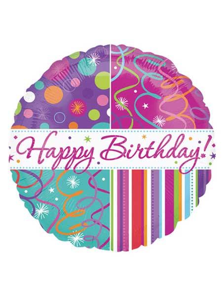 "18"" Happy Birthday Streamers Balloon"