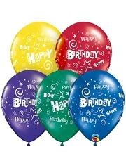 "11"" Birthday Stars & Swirls Latex Balloons"