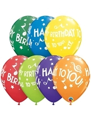 "11"" Happy Birthday To You Musical Notes Latex Balloons"