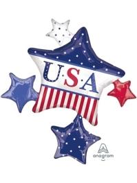 "35"" American Star Cluster Patriotic Balloon"