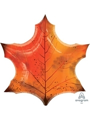 "25"" Orange Maple Leaf Thanksgiving Balloon"