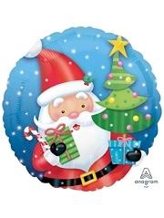 "18"" Santa With Tree Christmas Balloon"