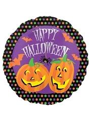 """18"""" Halloween Dots Pumpkins Balloon"""