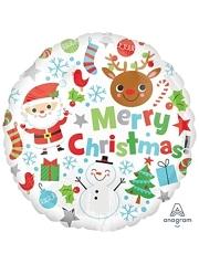 "18"" Merry Christmas Icons Balloon"