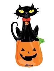 """41"""" Black Cat On Pumpkin Halloween Balloon"""
