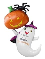 """54"""" Ghost & Pumpkikn Halloween Balloon"""