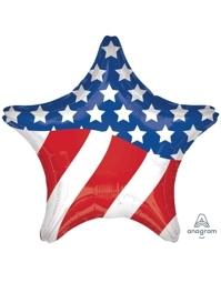 "28"" American Flag Star Patriotic Balloon"