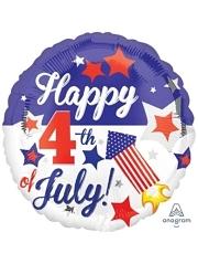"""18"""" Happy 4th Patriotic Balloon"""