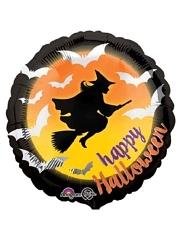 """18"""" Moonlight Witch & Bats Halloween Balloon"""