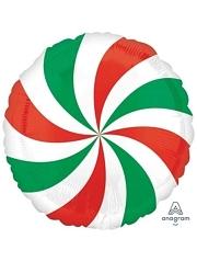 "18"" Red & Green Swirl Christmas Balloon"