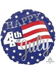 "18"" Happy 4th Stars & Stripes Patriotic Balloon"