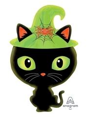 """23"""" Black Kitty Shape Halloween Balloon"""