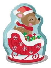 "21"" Deer In Sleigh Christmas Balloon"