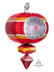 "23"" Retro Ornament Red & Gold Christmas Balloon"