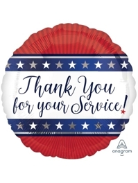 """18"""" Thank Your For Your Service Patriotic Balloon"""
