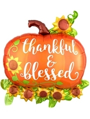 "29"" Thankful & Blessed Pumpkin Autumn Balloon"