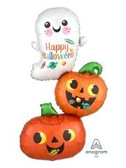 "37"" Happy Ghost Pumpkin Stack Halloween Balloon"