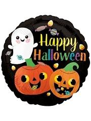 "18"" Happy Ghost & Pumpkins Halloween Balloon"