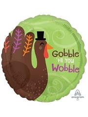 "18"" Gobble Til You Wobble Thanksgiving Balloon"