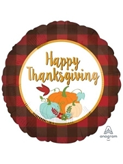 "18"" Thanksgiving Plaid Thanksgiving Balloon"
