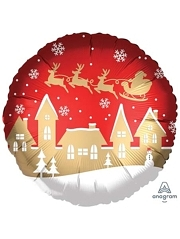 """18"""" Satin Santa Village Christmas Balloon"""