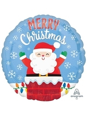 "18"" Santa In Chimney Christmas Balloon"