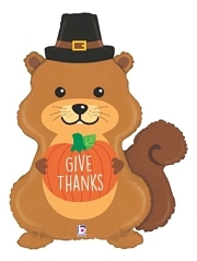 "32"" Pilgrim Squirrel Thanksgiving Balloon"