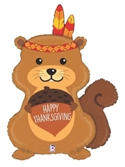 "35"" Indian Squirrel Thanksgiving Balloon"