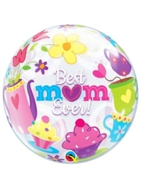 "22"" Best Mom Ever Tea Time Bubble Balloon"