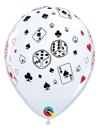 "11"" Cards & Dice Casino Balloons"