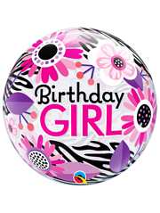 "22"" Birthday Girl Floral Zebra Stripes Bubble Balloon"
