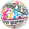 """22"""" Happy Birthday To You Musical Notes Bubble Balloon"""