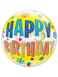 "22"" Birthday Fun Yellow Bands Bubble Balloon"