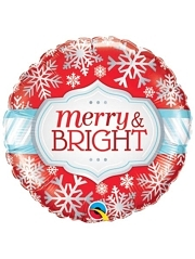 "18"" Merry Bright Snowflakes Holliday Balloon"