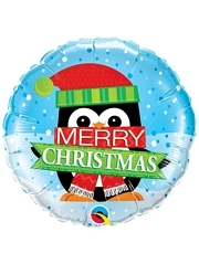 "18"" Merry Christmas Penguin Holiday Balloon"