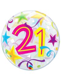"22"" 21 Brilliant Stars Bubble Balloon"