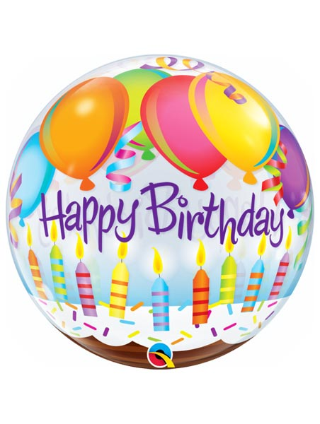 "22"" Birthday Balloons & Candles Bubble Balloon"