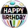 "22"" Birthday Black Band Dots Bubbley Balloon"