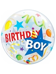 "22"" Birthday Boy Party Hat Bubble Balloon"