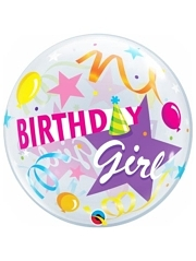 "22"" Birthday Girl Party Hat Bubble Balloon"