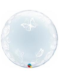 "24"" Elegant Roses & Butterflies Bubble Balloon"