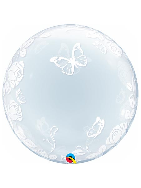 "24"" Elegant Roses & Butterflies Bubble Balloon"