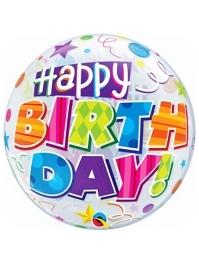"22"" Birthday Party Patterns Bubble Balloon"