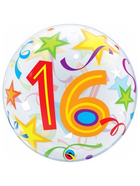 "22"" 16 Brilliant Stars Bubble Balloon"
