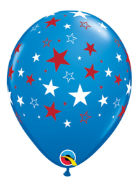 "11"" Red & White Stars Patriotic Balloons"