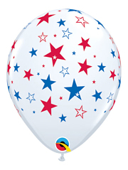"11"" Red & Blue Stars Patriotic Balloons"