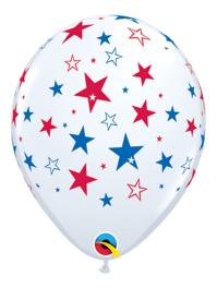 "11"" Red & Blue Stars Patriotic Balloons"